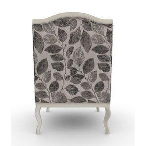 Fauteuil bergère en frêne blanc et tissu feuilles noires - Bruges - Visuel n°4