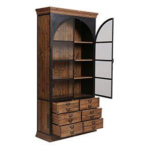 Bibliothèque industrielle en bois recyclé et métal - Manufacture - Visuel n°3