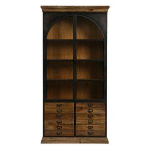 Bibliothèque industrielle en bois recyclé et métal - Manufacture