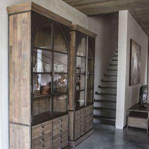 Bibliothèque industrielle en bois recyclé naturel grisé et métal - Manufacture - Visuel n°3