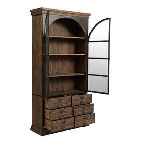 Bibliothèque industrielle en bois recyclé naturel grisé et métal - Manufacture - Visuel n°5