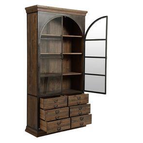 Bibliothèque industrielle en bois recyclé naturel grisé et métal - Manufacture - Visuel n°6