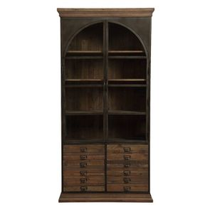 Bibliothèque industrielle en bois recyclé naturel grisé et métal - Manufacture