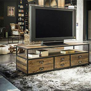 Meuble TV industriel avec rangements - Manufacture