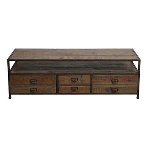 Meuble TV industriel avec rangement en bois recyclé naturel grisé - Manufacture