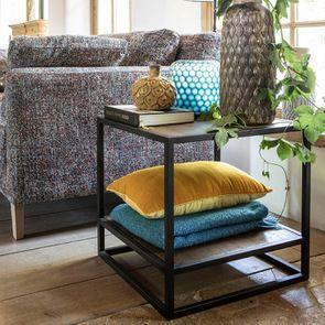 Bout de canapé industriel en bois recyclé et métal - Manufacture - Visuel n°5