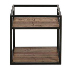 Bout de canapé industriel en bois recyclé et métal - Manufacture
