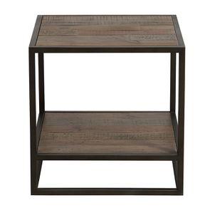 Bout de canapé industriel en bois recyclé naturel grisé et métal - Manufacture