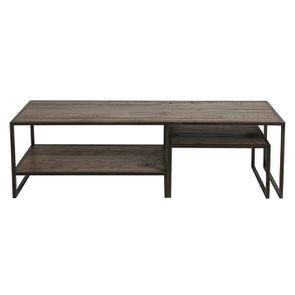 Tables basses gigognes industrielles en bois recyclé naturel grisé - Manufacture