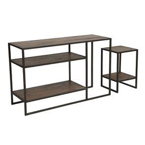 Console et bout de canapé gigognes industriels en bois recyclé naturel grisé - Manufacture - Visuel n°5