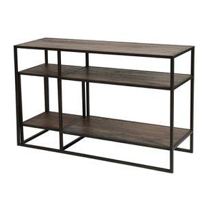 Console et bout de canapé gigognes industriels en bois recyclé naturel grisé - Manufacture - Visuel n°7