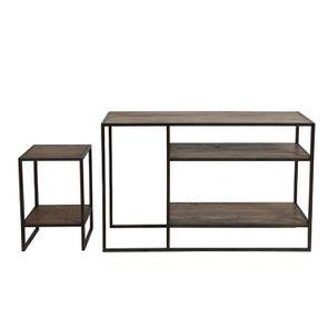 Console et bout de canapé gigognes industriels en bois recyclé naturel grisé - Manufacture - Visuel n°9