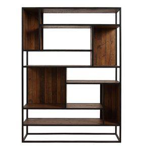 Bibliothèque à cases industrielle en bois recyclé et métal - Manufacture - Visuel n°1
