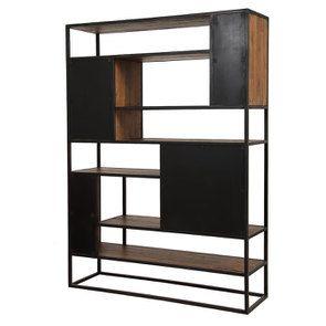 Bibliothèque à cases industrielle en bois recyclé et acier - Manufacture - Visuel n°8