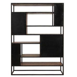 Bibliothèque à cases industrielle en bois recyclé et métal - Manufacture - Visuel n°9