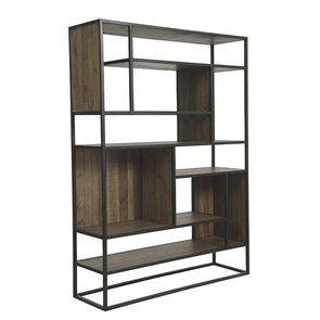 Bibliothèque à cases industrielle en bois recyclé naturel grisé et métal - Manufacture - Visuel n°2