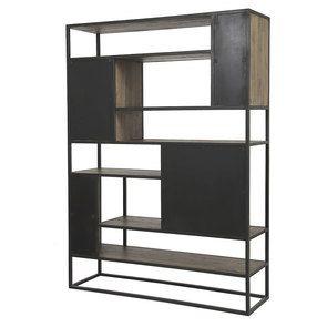 Bibliothèque à cases industrielle en bois recyclé naturel grisé et métal - Manufacture - Visuel n°4