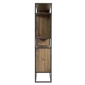 Bibliothèque à cases industrielle en bois recyclé naturel grisé et métal - Manufacture - Visuel n°6