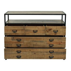 Commode 5 tiroirs en bois recyclé - Manufacture - Visuel n°3