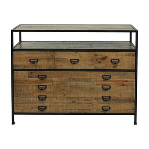 Commode 5 tiroirs en bois recyclé - Manufacture