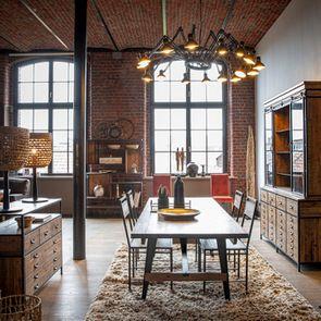 Table rectangulaire extensible industrielle en bois recyclé et métal - Manufacture - Visuel n°3