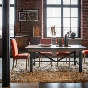Table rectangulaire extensible industrielle en bois recyclé et métal - Manufacture - Visuel n°4