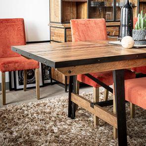 Table rectangulaire extensible industrielle en bois recyclé et métal - Manufacture - Visuel n°5
