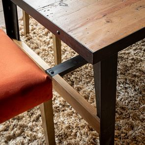 Table rectangulaire extensible industrielle en bois recyclé et métal - Manufacture - Visuel n°6