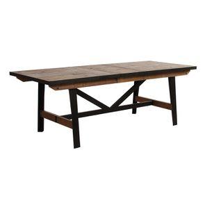 Table rectangulaire extensible industrielle en bois recyclé et métal - Manufacture - Visuel n°9
