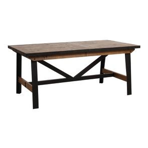 Table rectangulaire extensible industrielle en bois recyclé et métal - Manufacture - Visuel n°12