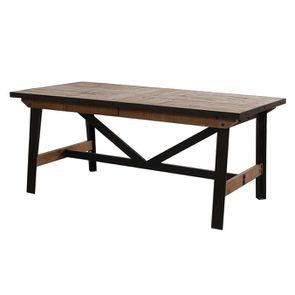 Table rectangulaire extensible industrielle en bois recyclé et métal - Manufacture - Visuel n°14