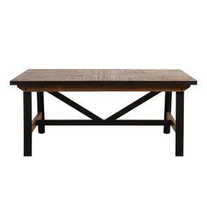 Table rectangulaire extensible industrielle en bois recyclé et métal - Manufacture - Visuel n°15