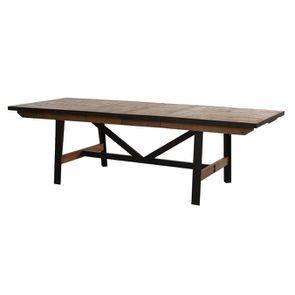 Table rectangulaire extensible industrielle en bois recyclé et métal - Manufacture - Visuel n°16