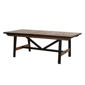 Table rectangulaire extensible industrielle en bois recyclé et métal - Manufacture - Visuel n°17