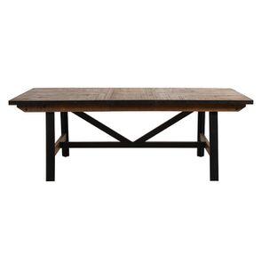 Table rectangulaire extensible industrielle en bois recyclé et métal - Manufacture - Visuel n°18