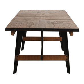 Table rectangulaire extensible industrielle en bois recyclé et métal - Manufacture - Visuel n°20