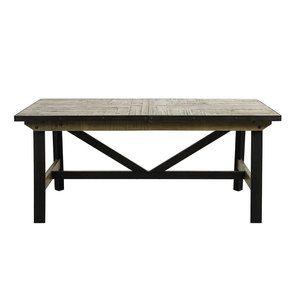 Table rectangulaire extensible industrielle en bois recyclé naturel grisé et métal - Manufacture