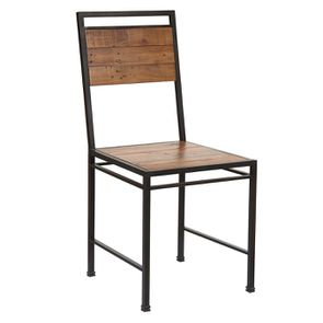 Chaise style industriel en métal et bois recyclé - Manufacture - Visuel n°4