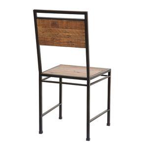 Chaise style industriel en métal et bois recyclé - Manufacture - Visuel n°6