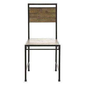 Chaise style industriel en métal et bois recyclé naturel grisé - Manufacture