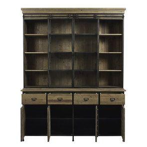 Buffet vitré industriel en bois recyclé naturel grisé et acier - Manufacture - Visuel n°2