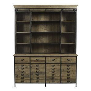 Buffet vitré industriel en bois recyclé naturel grisé et acier - Manufacture - Visuel n°1