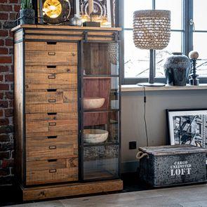 Commode 6 tiroirs avec porte vitrée en bois recyclé et métal - Manufacture