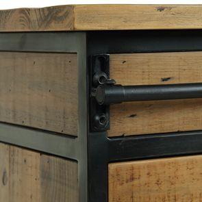 Commode 6 tiroirs avec porte vitrée en bois recyclé et acier - Manufacture - Visuel n°11