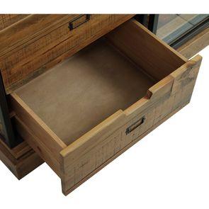 Commode 6 tiroirs avec porte vitrée en bois recyclé et acier - Manufacture - Visuel n°12
