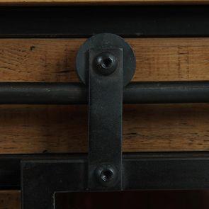 Commode 6 tiroirs avec porte vitrée en bois recyclé et acier - Manufacture - Visuel n°14