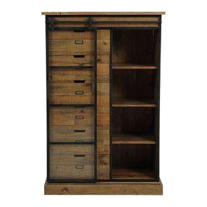 Commode 6 tiroirs avec porte vitrée en bois recyclé et acier - Manufacture - Visuel n°3