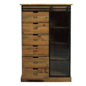 Commode 6 tiroirs avec porte vitrée en bois recyclé et acier - Manufacture - Visuel n°4
