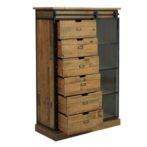 Commode 6 tiroirs avec porte vitrée en bois recyclé et acier - Manufacture - Visuel n°5