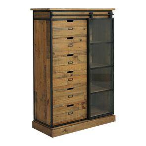 Commode 6 tiroirs avec porte vitrée en bois recyclé et acier - Manufacture - Visuel n°6